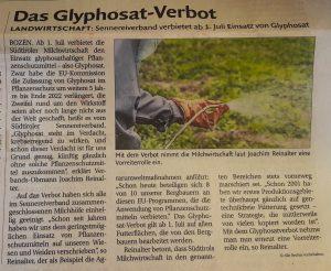 Sennereiverband verbietet Glyphosat